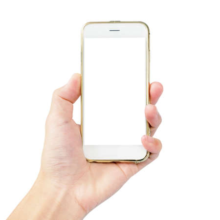 Photo pour left hand is hold smartphone with gold case isolated on white background - image libre de droit