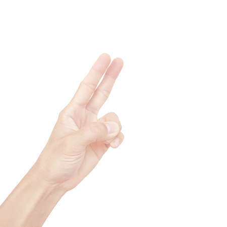 Photo pour hand of asian man in gestures isolated on white background - image libre de droit