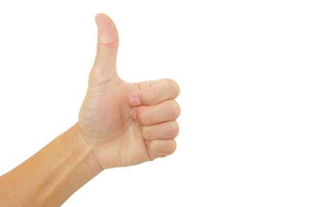 Photo pour show hand up is Good gesture on white background - image libre de droit