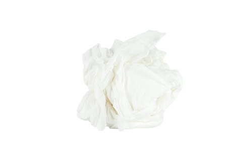 Crumpled tissue paper isolated white background  Save with path