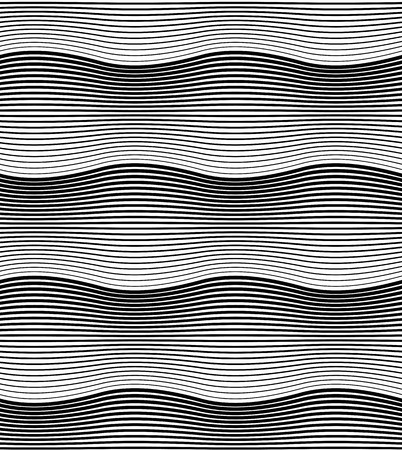 Illustration pour Black and white geometric seamless pattern with wavy line. Abstract background. Vector seamless pattern. - image libre de droit