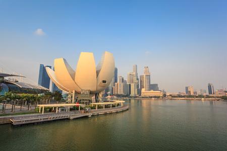 Singapore city skyline at Marina Bay in the morning