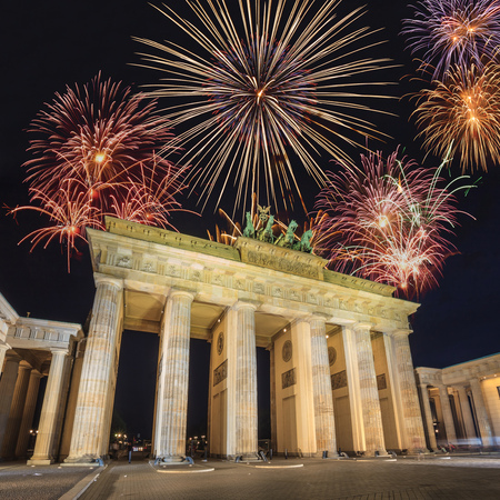 Fireworks with Brandenburg Gate of Berlin, Germany