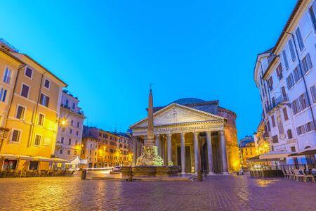 Rome Pantheon at night before sunrise, Rome, Italy