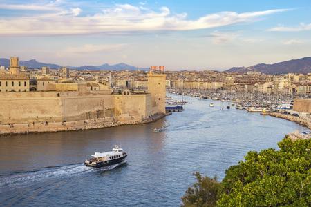 Photo pour Marseille France, aerial view city skyline at Vieux Port - image libre de droit