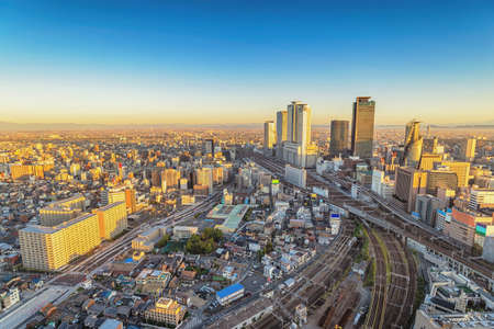Photo pour Nagoya Japan, city skyline at Nagoya railway station and business center - image libre de droit
