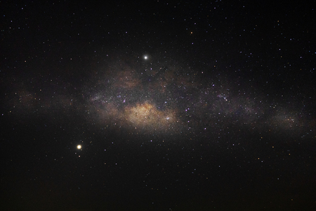 Photo for Milky way galaxy and star in the dark night with noise and grain. - Royalty Free Image