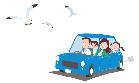 Ilustración de Birds flying and car with family Vector illustration. - Imagen libre de derechos