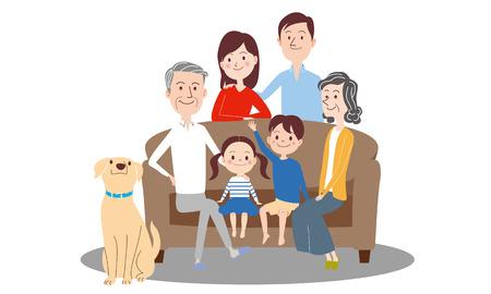 Illustration for Three generations set image, isolated on white background - Royalty Free Image