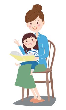 Illustration pour Story reading the picture book - image libre de droit