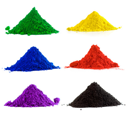 Photo for Big collection of colorful powder - yellow, red, black, green, blue, violet - Royalty Free Image