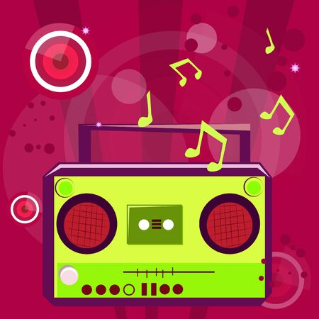 Pop music background with musical note and retro casette player
