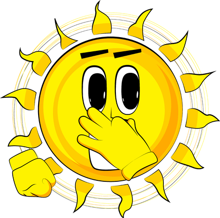 Cartoon happy sun holding his nose because of a bad smell. Expression cartoon vector.