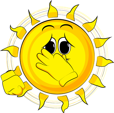 Cartoon sad sun holding his nose because of a bad smell. Expression cartoon vector.