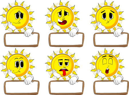 Cartoon sun with blank paper on wood. Collection with sad faces. Expressions vector set.
