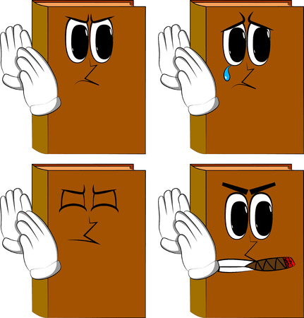 Books holds both hand at his ear, listening. Cartoon book collection with angry and sad faces. Expressions vector set.