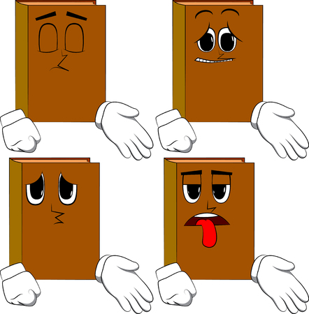 Books giving a hand. Cartoon book collection with sad faces. Expressions vector set.