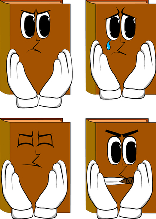 Books touching his face. Cartoon book collection with angry and sad faces. Expressions vector set.