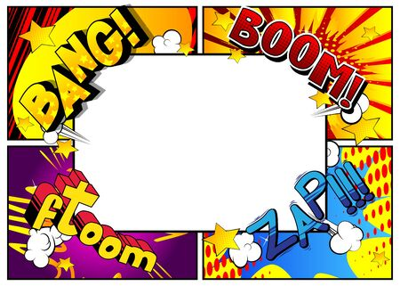 Illustration pour Vector pop-art style comic book page template background with explosions, halftone effects and rays. - image libre de droit