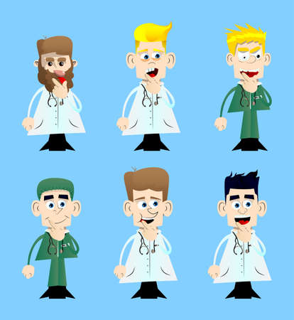 Illustration pour Funny cartoon doctor holding finger front of his mouth. Vector illustration. - image libre de droit