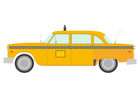 Retro yellow cab silhouette