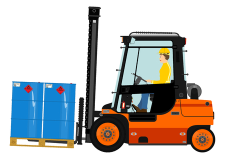 Orange forklift. Vector without gradients on one layer.