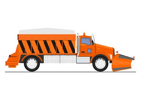 Illustration pour Cartoon snow plow and salt spreader. Flat vector. - image libre de droit