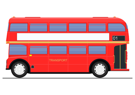 Illustration for Cartoon red double decker bus. Side view. Flat vector. - Royalty Free Image