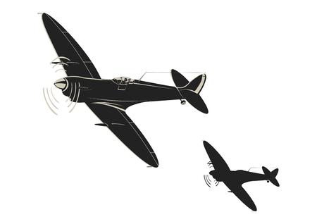 Ilustración de Simplistic sticker of World War II fighter aircraft. Flat vector. - Imagen libre de derechos