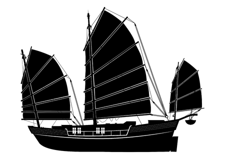 Illustration for Junk boat. Silhouette of a Chinese vintage ship. Side view. Flat vector. - Royalty Free Image