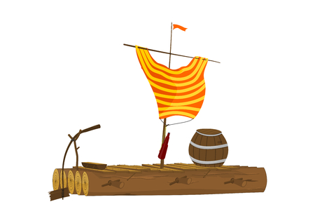 Illustration for Cartoon raft with a barrel and a sail made of a shirt. Wooden raft. Side view. Flat vector. - Royalty Free Image