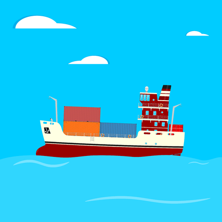 Cartoon container ship on a blue square background. Side view. Flat vector.