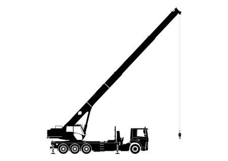Ilustración de Mobile crane. Silhouette of a crane on a white background. Side view. Flat vector. - Imagen libre de derechos