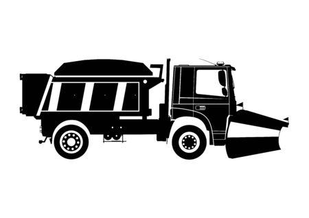 Illustration pour Snow plow. Silhouette of snow plough on a white background.Side view. Flat vector. - image libre de droit