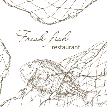 Ilustración de Fish caught in the net. Fish and fishing net background. Restaurant menu design cover. Fishing flyer. Big fish and fishnet template. Fish hand drawn vector illustrations. Fish net card. Fishery frame - Imagen libre de derechos