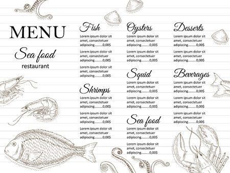 Illustration pour Restaurant menu design. Cafe menu cover. Seafood menu flyer. Menu brochure. Food template. Menu layout. Fish and seafood menu design. Menu for snack bars with hand drawn vector illustrations. - image libre de droit