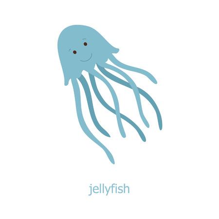 Illustration pour Jellyfish. Cartoon character. The sea jelly of the Australia. Wild animal. Cute jelly fish.  Marine life. - image libre de droit