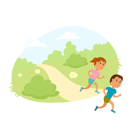 Foto per Children run. Healthy lifestyle illustration. Girl and boy jogging. Child runners in city park. Kids activity and sport. Outdoor fitness concept. Child run together. - Immagine Royalty Free
