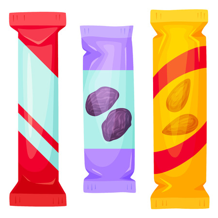 Illustration pour Chocolate bars pack. Snack bar packing vector illustration. Muesli bar - healthy snack. Fast food. Cartoon candy bar packaging. Wrapper for candy bar blank. Packing template - image libre de droit