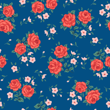 Illustration pour Flower seamless pattern vector. Simple floral print with rose. Small rose flower seamless background. Small rose flower pattern illustration. Small rose seamless pattern design. Rose vector pattern - image libre de droit