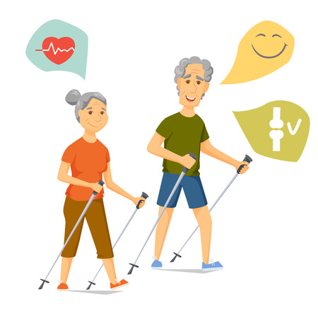Illustration for Seniors nordic walking. Pensioners walk together. Old man and women leisure. Cartoon older character sport vector illustration. Elderly people hiking and have a fun. Couple fitness. Healthy lifestyle - Royalty Free Image
