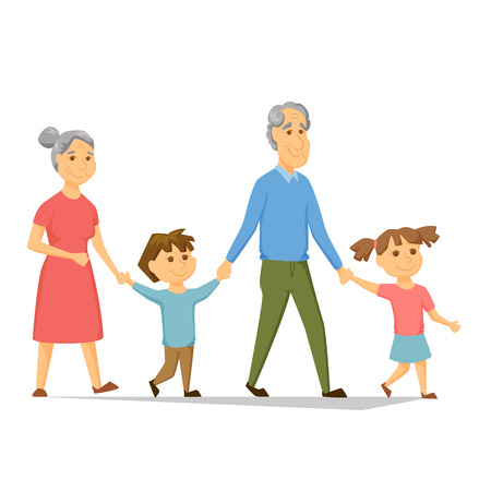 Illustration for Grandparents with grandchildren walking. Old people have leisure with children. Grandma and Grandpa hold hands girl and a boy. Seniors activity. Joint generations walk. Happy family together - Royalty Free Image