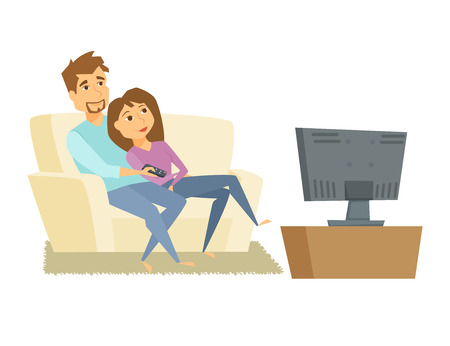 Illustration pour Couple watching tv. Man and woman sitting on sofa and watching television together. Young couple relaxing at home, use the remote control and watch tv movie. Family tv leisure vector illustration - image libre de droit