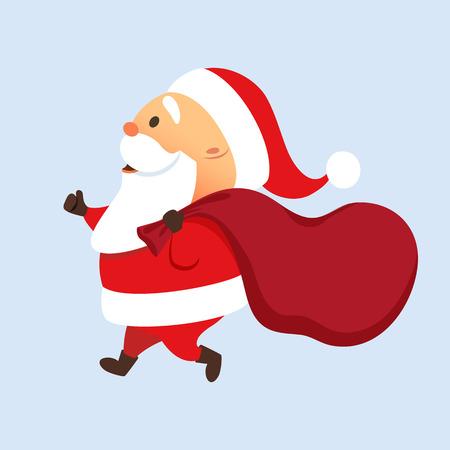 Illustration pour Santa Claus running with a big bag. Santa Claus present delivery. Fast Christmas delivery. Cute Santa Claus is late with sack. Run Father Christmas - image libre de droit