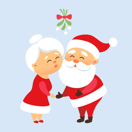 Santa Claus kiss his wife Mrs. Santa Claus under the mistletoe. Romantic Christmas tradition. Cute Santa Claus family couple together. Mother and Father Christmas