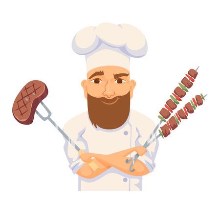 Illustration pour Chef cooking BBQ - image libre de droit