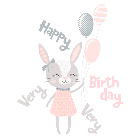 7b7cc24e37ea7 Cute bunny girl print. Sweet rabbit baby with balloons. Hare fashion child  vector.