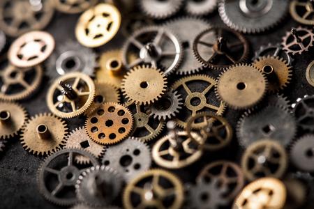 Photo pour mechanical watch repairing concept. closeup the parts of mechanical wristwatch. - image libre de droit