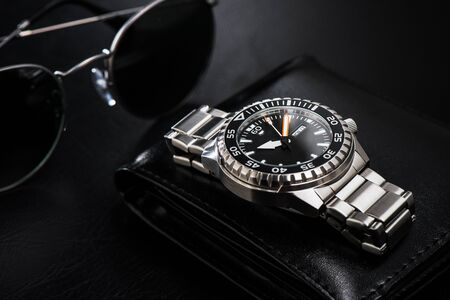 Photo for luxury men watch with black dial and stainless steel bracelet. - Royalty Free Image
