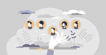 Illustration for HR personnel selection with hiring best members for work tiny person concept. Recruitment choice with vacancy hiring and employee profile stand out vector illustration. Project team labor staffing. - Royalty Free Image